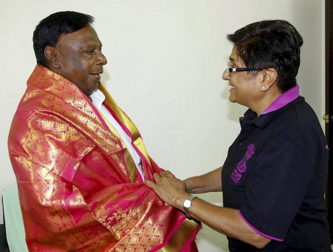 V Narayanasamy and Kiran Bedi have been at loggerheads ever since they took over in 2016 as chief minister and Lt governor respectively. PTI file photo