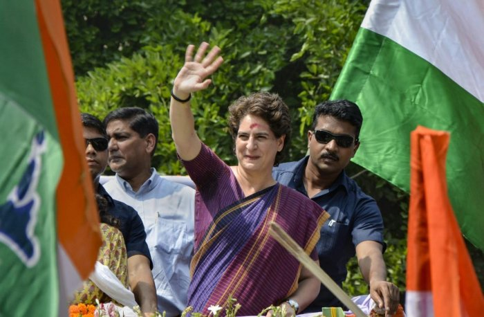 Congress General Secretary Priyanka Gandhi takes part in a roadshow in Silchar, Assam. (PTI Photo)