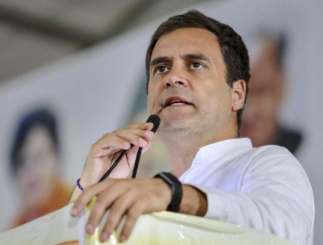 Congress President Rahul Gandhi at a public meeting in Gurugram on May 4. (PTI)