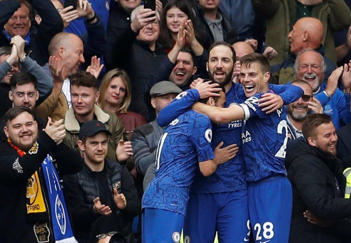 Chelsea's Gonzalo Higuain (centre) celebrates after scoring against Watford on Sunday. Reuters