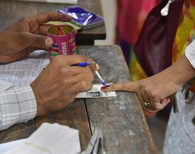 Polling was underway since Monday morning in seven Lok Sabha constituencies of Betul, Tikamgarh, Damoh, Khajuraho, Satna, Rewa and Hoshangabad. (PTI Photo)