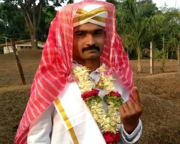 Ravikanth after casting his vote on Thursday.