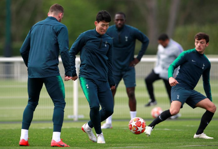 The availability of their star striker Son Heung-min (centre), who was suspended for the first leg, will be a big boost for the Tottenham Hotspur on Wednesday. Reuters
