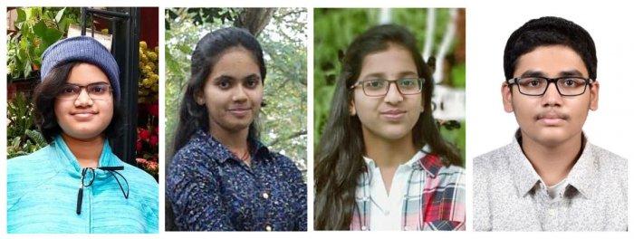 From left: Aishwarya Hariharan (Presidency School), Prithvi Shenoy (Vidyaniketan Public School), Disha Chowdary (Presidency School) and K V Pranav (Sri Chaitanya Techno School).