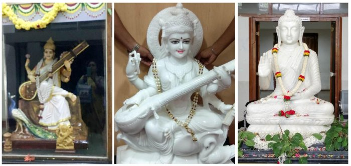 A new Saraswati idol (middle) was slated to replace an old one (left). But a Buddha idol now stands in its place.