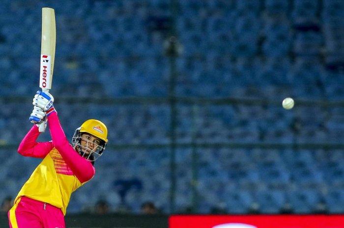 ON SONG: Trailblazers' captain Smriti Mandhana en route her 67-ball 90 against Supernovas in Jaipur on Tuesday. PTI