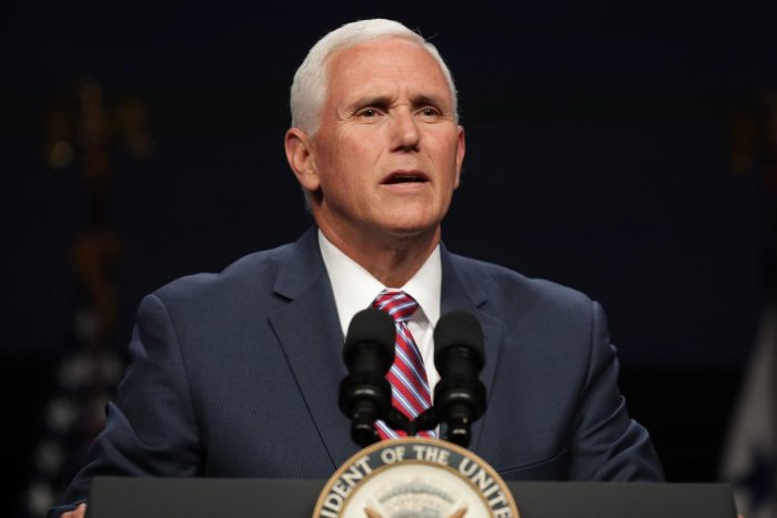 U.S. Vice President Mike Pence delivers a keynote address during Access Intelligence's Satellite 2019 Conference and Exhibition at the Walter E. Washington Convention Center. AFP