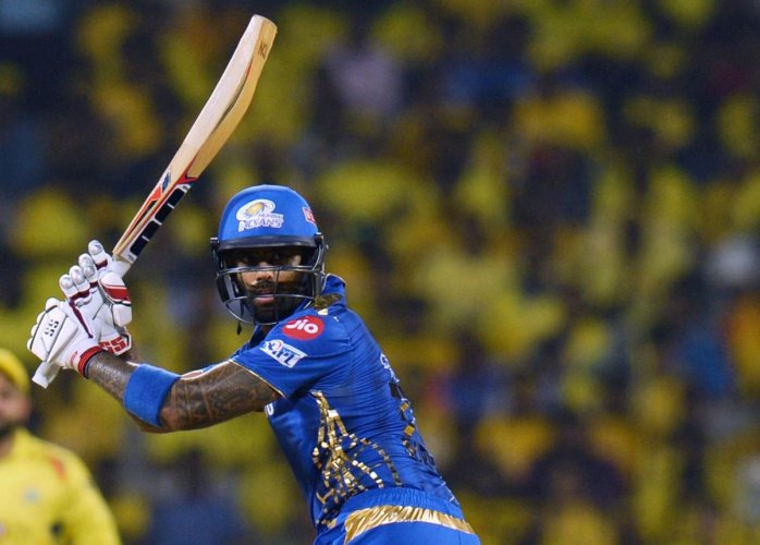 RISING TO THE OCCASION: Mumbai Indians' Suryakumar Yadav en route his unbeaten 71 against Chennai Super Kings in Qualifier 1 on Tuesday. AFP
