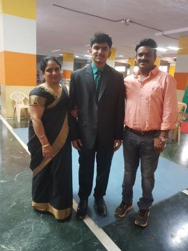 (From left) Usha Shashibhushana (mother) , Darshith S and Shashibhushan Reddy(father