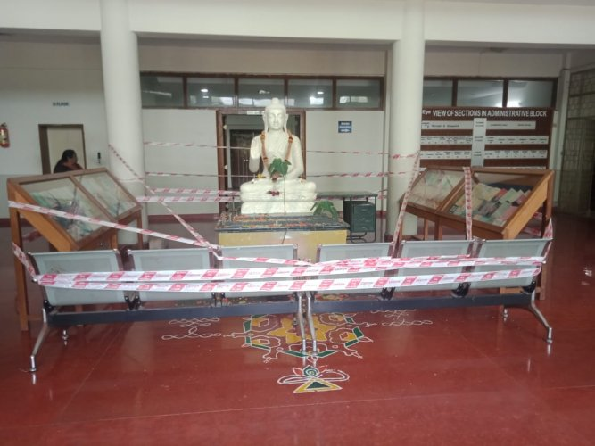 Police personal secured the Buddha idol.