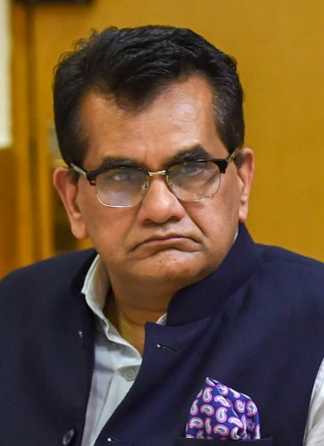 New Delhi: NITI Aayog CEO Amitabh Kant looks on during the media addressal after the 4th meeting of Governing Council of NITI Aayog, in New Delhi on Sunday, June 17, 2018. (PTI Photo/Subhav Shukla) (PTI6_17_2018_000086A)