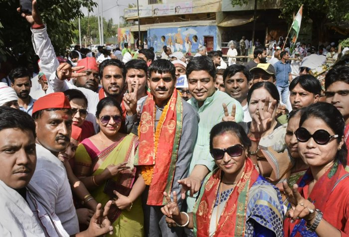 Varanasi: Dismissed BSF constable Tej Bahadur Yadav with supporters after he was fielded as Samajwadi Party-Bahujan Samajwadi Party alliance's Varanasi seat candidate for Lok Sabha polls, in Varanasi, Monday, April 29, 2019. Yadav was dismissed in 2017 af