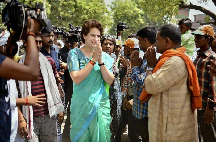 Congress General Secretary Priyanka Gandhi Vadra greets supporters during the election campaign for Lok Sabha polls in Raebareli. PTI photo