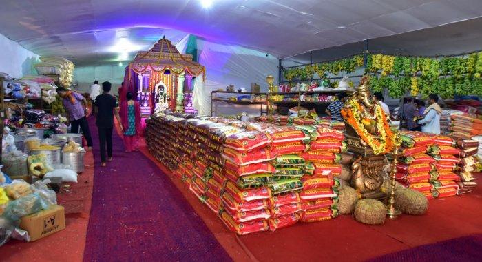 A view of 'Ugrana' (storeroom) set up at Kadri Manjunatha Temple in Mangaluru.