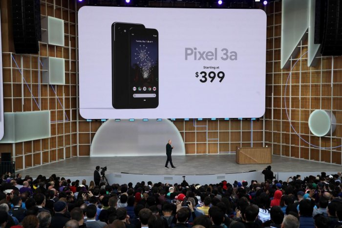 Google SVP of Devices and Services Rick Osterloh announces the new Google Pixel 3A during the keynote address at the 2019 Google I/O conference at Shoreline Amphitheatre. AFP photo