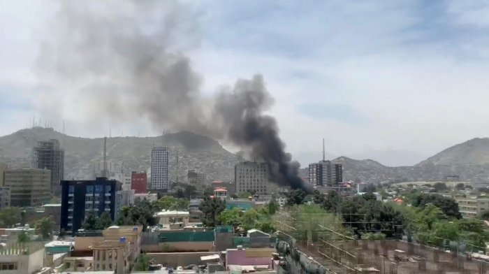 Smoke rises from the site of a blast in Kabul, Afghanistan May 8, 2019, in this still image taken from a video obtained by social media. REUTERS