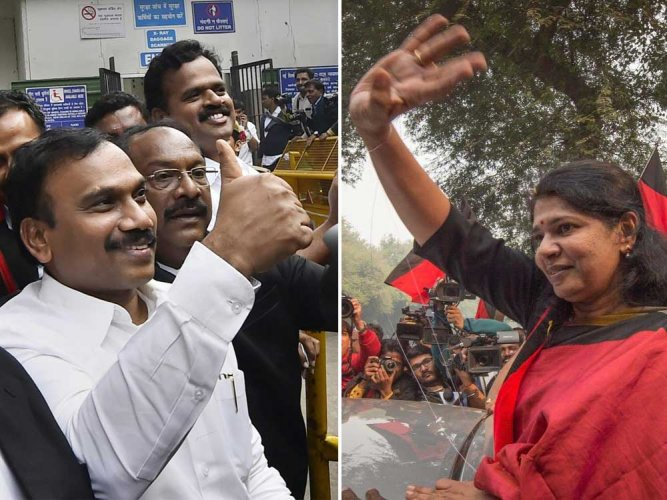 A Raja and late party chief M Karunanidhi's daughter Kanimozhi. File photo