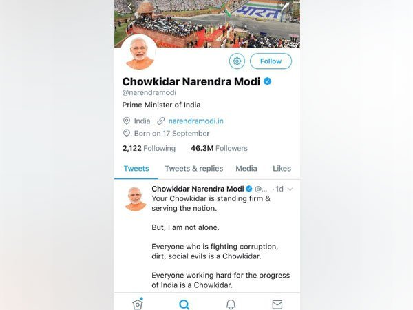 """Modi's Twitter profile identified him as """"Chowkidar Narendra Modi"""" and similar was the case with other BJP leaders."""