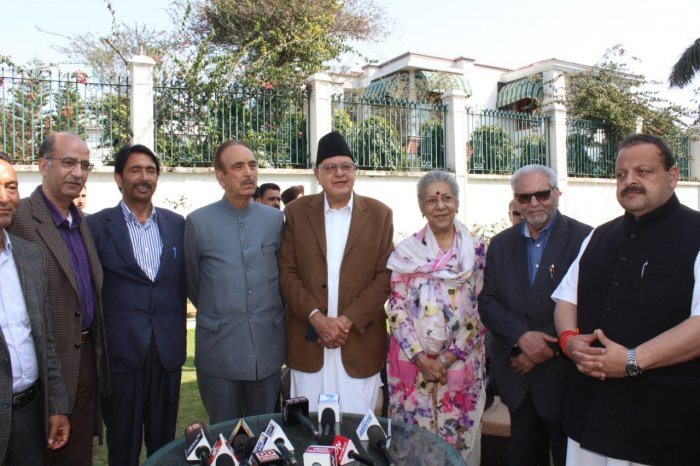 """After hectic deliberations, the Congress and the regional National Conference (NC) on Wednesday announced a seat-sharing pact for the four Lok Sabha seats in Jammu and Kashmir but will have """"friendly fights"""" in two places - Baramulla and Anantnag. DH photo"""