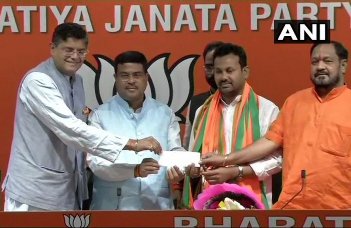 Odisha MLA Prakash Chandra Behera on Sunday joined the BJP after being with the Congress for 20 years, with Union minister Dharmendra Pradhan saying his presence will help the party bring about changes in Odisha under Prime Minister Narendra Modi's leadership. ANI photo