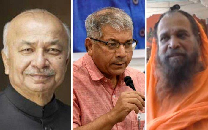 Sushilkumar Shinde (Congress), Jai Siddheshwar Shivacharya Swami (BJP) and Prakash Ambedkar (VBA)