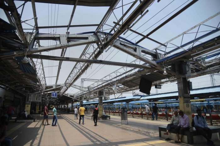 A view of the damaged Bhubaneswar railway station. (PTI Photo)