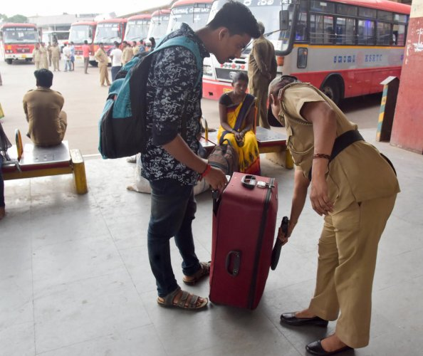 The security at the KSRTC bus stand has also been scaled up after Sri Lanka bombings. DH photo/bh shivakumar