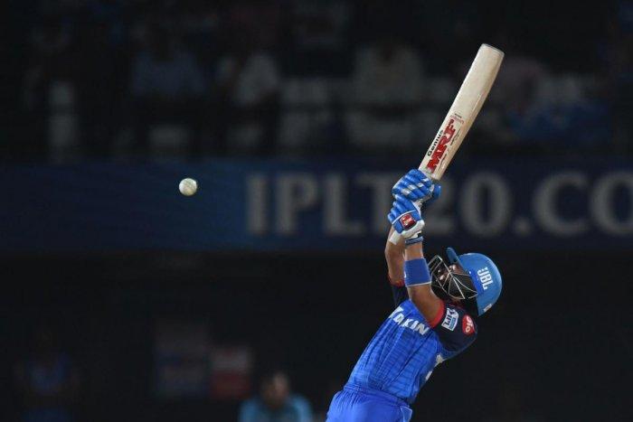 Delhi Capitals cricketer Prithvi Shaw plays a shot during the 2019 Indian Premier League (IPL) eliminator Twenty20 cricket match between Sunrisers Hyderabad and Delhi Capitals at the Dr. Y.S. Rajasekhara Reddy ACA-VDCA Cricket Stadium in Visakhapatnam. AF