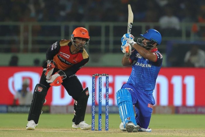 Destructive: Delhi Capitals' Rishabh Pant sends a Basil Thampi delivery racing to the fence during his 21-ball-49 in the Eliminator against Sunrisers Hyderabad in Visakhapatnam on Wednesday. IPL Media
