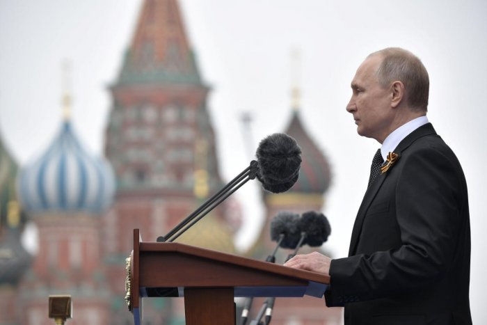 Russia's President Vladimir Putin delivers a speech during the Victory Day parade, which marks the anniversary of the victory over Nazi Germany in World War Two, in Red Square in central Moscow. (Reuters Photo)