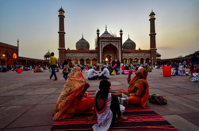 Muslims assemble at Jama Masjid for Iftar on the first day of the holy month of Ramadan, in Delhi, Tuesday, May 7, 2019. (PTI Photo)