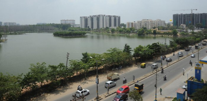 Several illegal constructions have come up near the Kaikondrahalli Lake. DH file photo