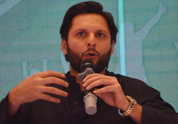 Pakistani cricketer Shahid Afridi speaks during a press conference to present his autobiography in Karachi on May 4, 2019. - When Pakistan's Shahid Afridi smashed a 37-ball century against Sri Lanka in 1996, he not only registered the fastest-ever one-day