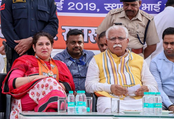 Haryana Chief Minister Manohar Lal Khattar during an election campaign rally for the ongoing Lok Sabha polls in Hisar district. PTI file photo