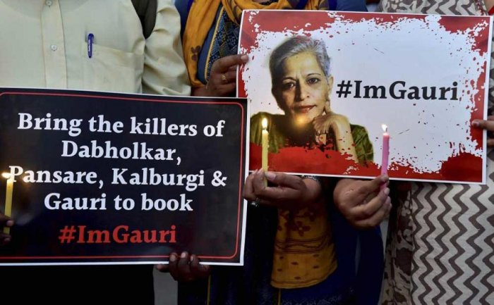 The SIT has so far arrested 16 people while two are still at large in connection with the murder of Gauri Lankesh, who was shot dead outside her house in Bengaluru on September 5, 2017. DH File Photo