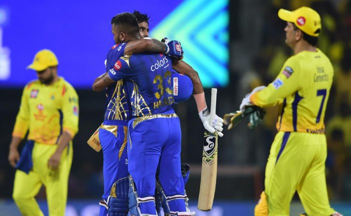 MI players Suryakumar Yadav and Hardik Pandya celebrating after them team qualifying for final as they win the First Qualifier of Indian Premier League 2019 (IPL T20) playoffs cricket match against Chennai Super Kings (CSK) at MA Chidambaram Stadium, Chepauk, in Chennai on May 7, 2019. (PTI Photo)