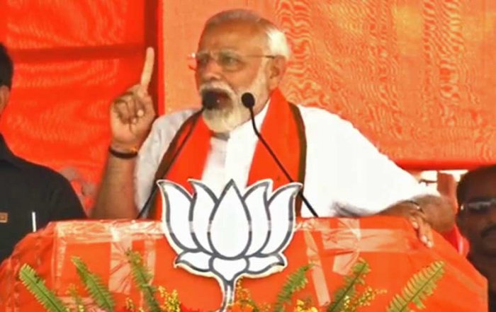 """Modi recently quoted Tagore's lines """"where the mind is without fear"""" to take a dig at Banerjee for the alleged used of terror tactics by the Trinamool Congress (TMC). He said that neither Congress nor CPI(M) went by the ideals of Tagore as they blatantly resorted to intimidation tactics to cling to power. Picture courtesy Twitter"""