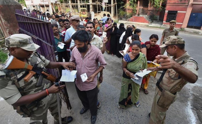 The sixth phase of the Lok Sabha elections in West Bengal will be held under heavy security on Sunday with more than 740 companies of Central forces deployed across eight poll-bound constituencies in four districts. PTI file photo