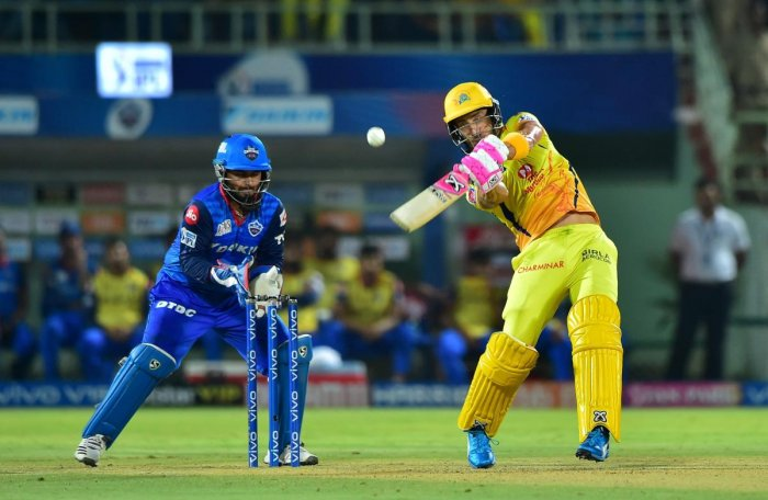 Chennai Super Kings' Faf Du Plessis slams one over the fence en route his 50 against Delhi Capitals in the Qualifier 2 of the IPL on Friday. PTI