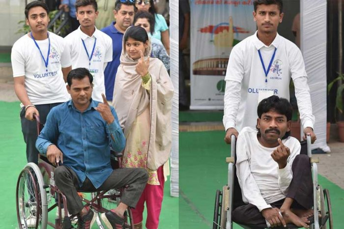 Polling staff, police personnel and volunteers deployed at polling stations offered help to differently abled persons and ensured they cast their votes with least discomfort. PTI photo