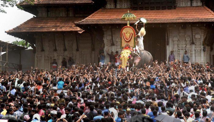 The Thrissur Pooram of Vadakkunnathan temple in Thrissur district will be performed on Monday. (PTI File Photo)