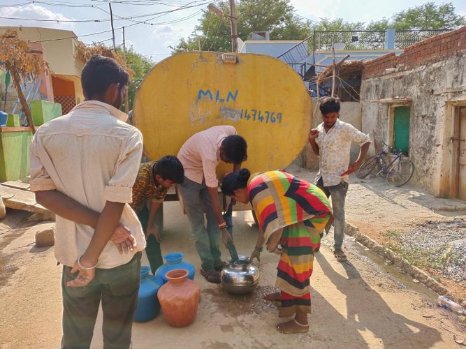 Residents of Anoor village in Chikkaballapur district buy water from private tankers at Rs two or three per pot, as water supplied from the district administration was inadequate.