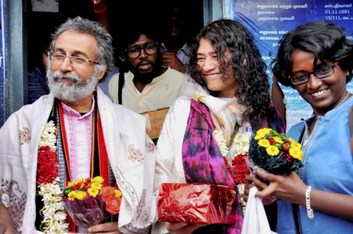Activist Irom Chanu Sharmila with her husband Desmond Coutinha after their wedding in Kodaikanal in 2017. PTI file
