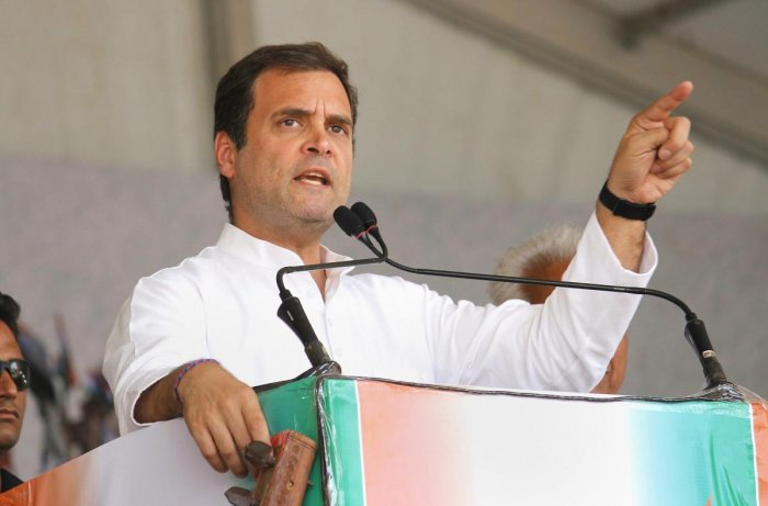 """Addressing a rally ahead of the fourth and last phase of Lok Sabha polls in Madhya Pradesh, Gandhi also said Modi should stop talking about """"clouds and mangoes"""" and tell people about issues which matter. PTI File photo"""