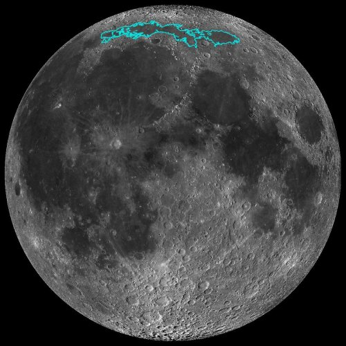 In this image, a mosaic composed of many images taken by NASA's Lunar Reconnaissance Orbiter (LRO), and released by NASA on May 13, 2019, show new surface features (outlined) of the Moon, discovered in a region called Mare Frigoris. - These ridges add to