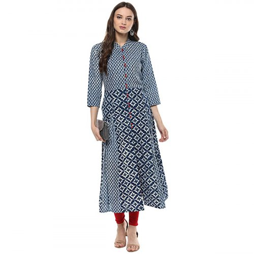 Anarkali Kurta with dabu print