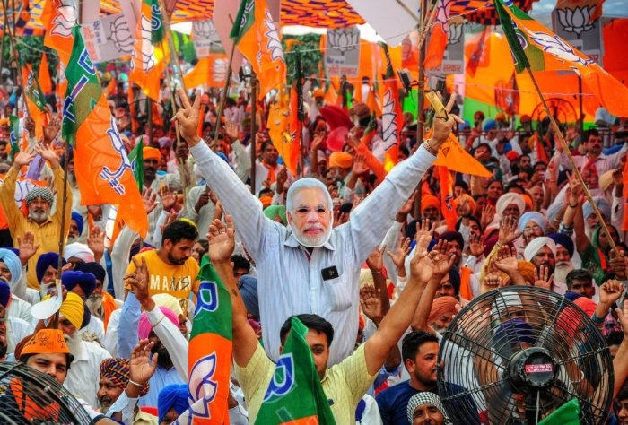 BJP supporters during an election campaign rally for the ongoing Lok Sabha polls, in Amritsar on May 12, 2019. (PTI Photo)