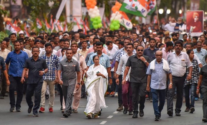 West Bengal Chief Minister and Trinamool Congress chief Mamata Banerjee in a protest rally against the clashes that broke out yesterday during BJP President Amit Shah's election roadshow for Lok Sabha polls, in Kolkata, Wednesday, May 15, 2019. (PTI Photo)