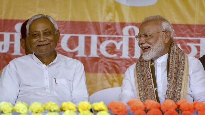 Prime Minister Narendra Modi and Bihar Chief Minister Nitish Kumar during an election campaign rally ahead of the last phase of the Lok Sabha polls, at Paliganj in Patna, Wednesday, May 15, 2019. (PTI Photo)