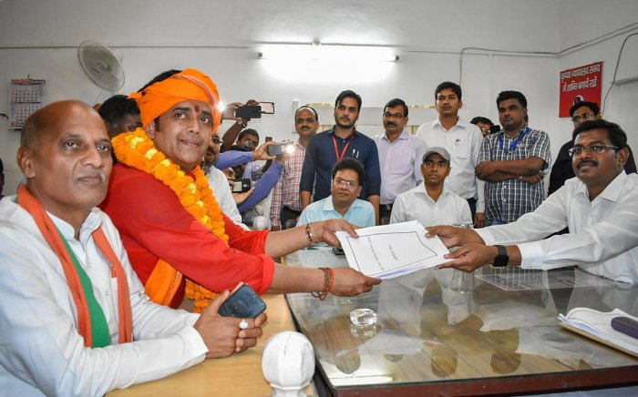 Gorakhpur: Bhojpuri actor and BJP candidate Ravi Kishan files his nomination papers from Gorakhpur constituency for Lok Sabha elections, in Gorakhpur. (PTI File Photo)